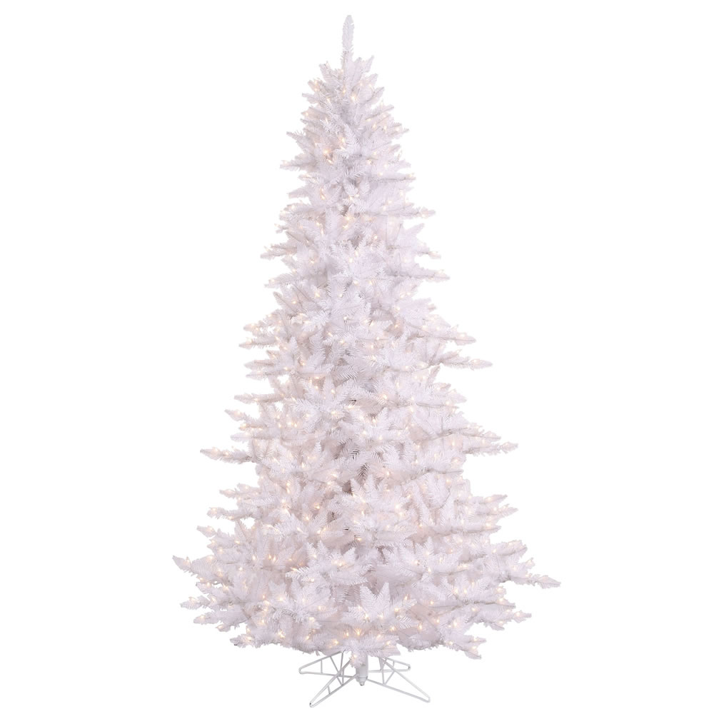 12 Foot White Fir Artificial Christmas Tree 1650 DuraLit Clear Mini Incandescent Lights