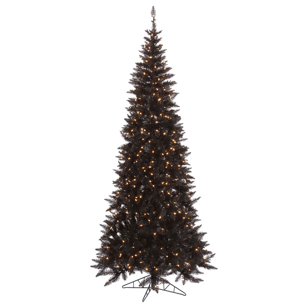 9 Foot Slim Black Artificial Halloween Tree 700 DuraLit Incandescent Clear Mini Lights