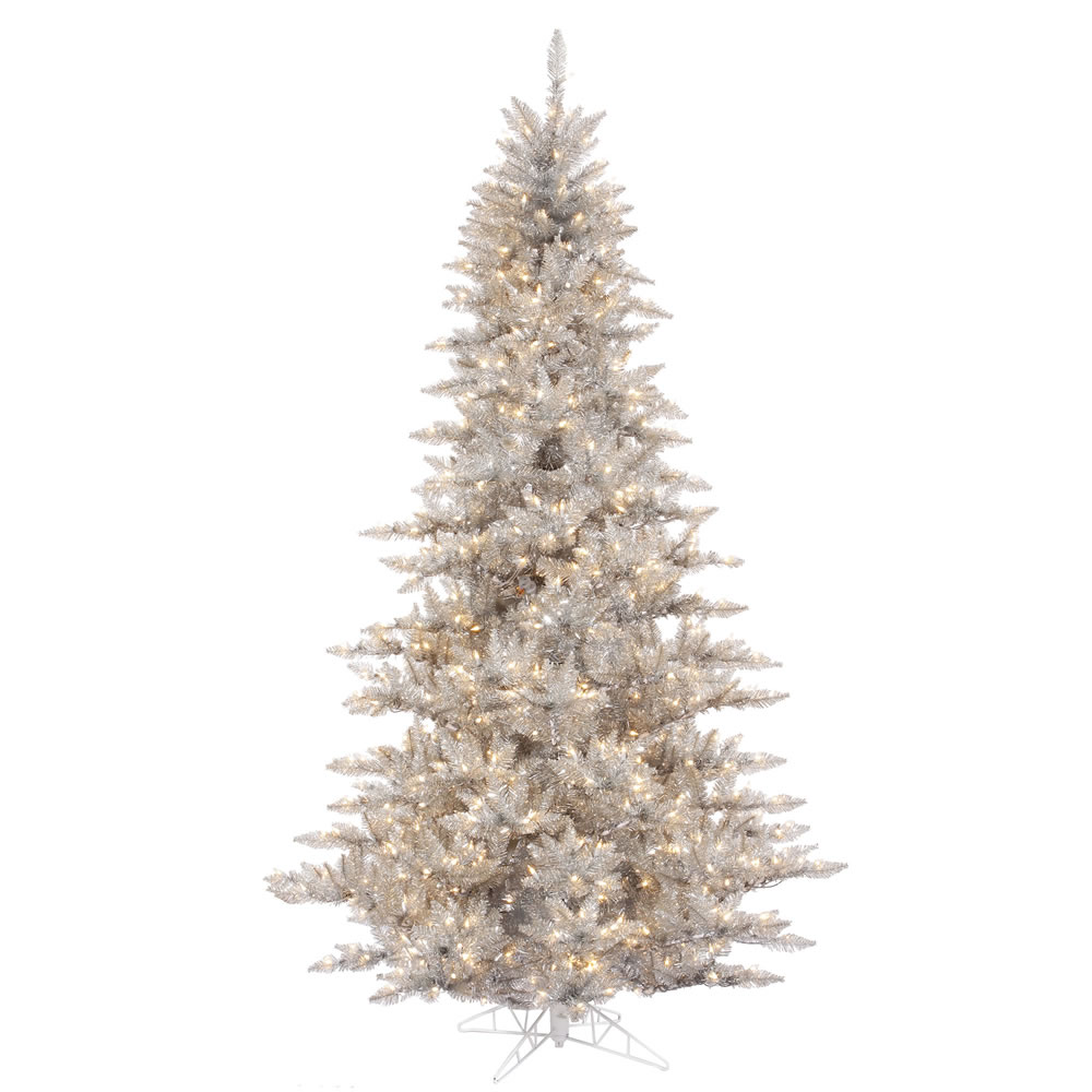 9 Foot Silver Tinsel Fir Artificial Christmas Tree 1000 DuraLit Incandescent Clear Mini Lights