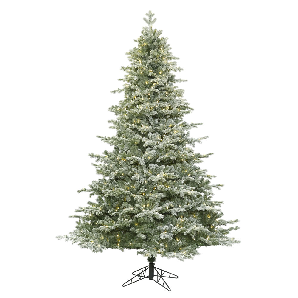 14 Foot Frosted Denton Spruce Artificial Christmas Tree 2200 LED M5 Italian Warm White Lights
