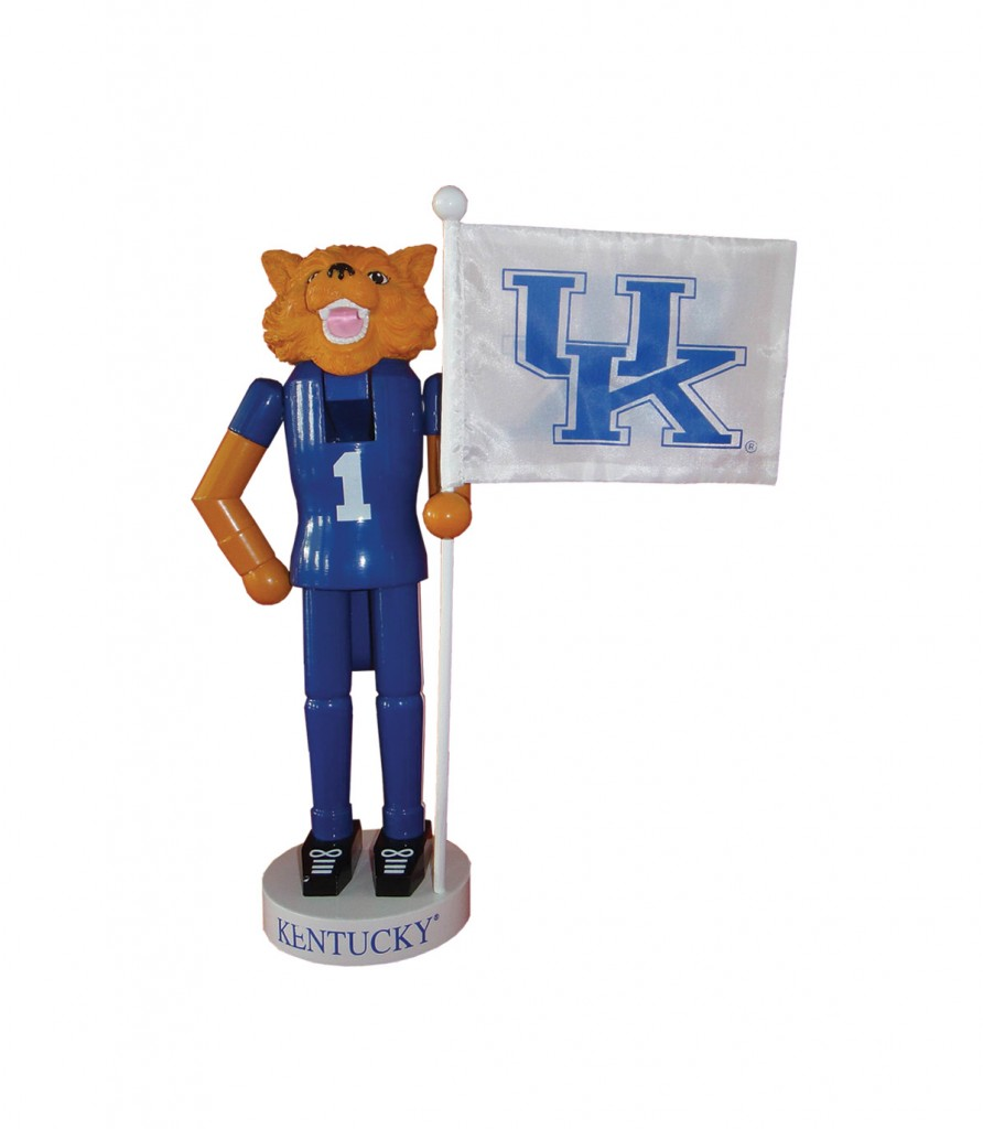 University of Kentucky Mascot with Flag Nutcracker Decoration