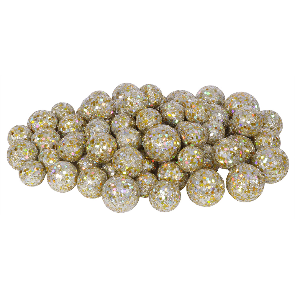 Champagne Glitter Sequin Styrofoam Ball Assorted Sizes Pack of 72