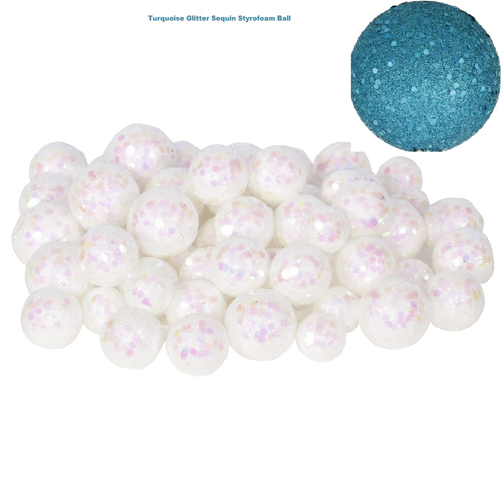 Turquoise Glitter Sequin Styrofoam Ball Assorted Sizes Pack of 72