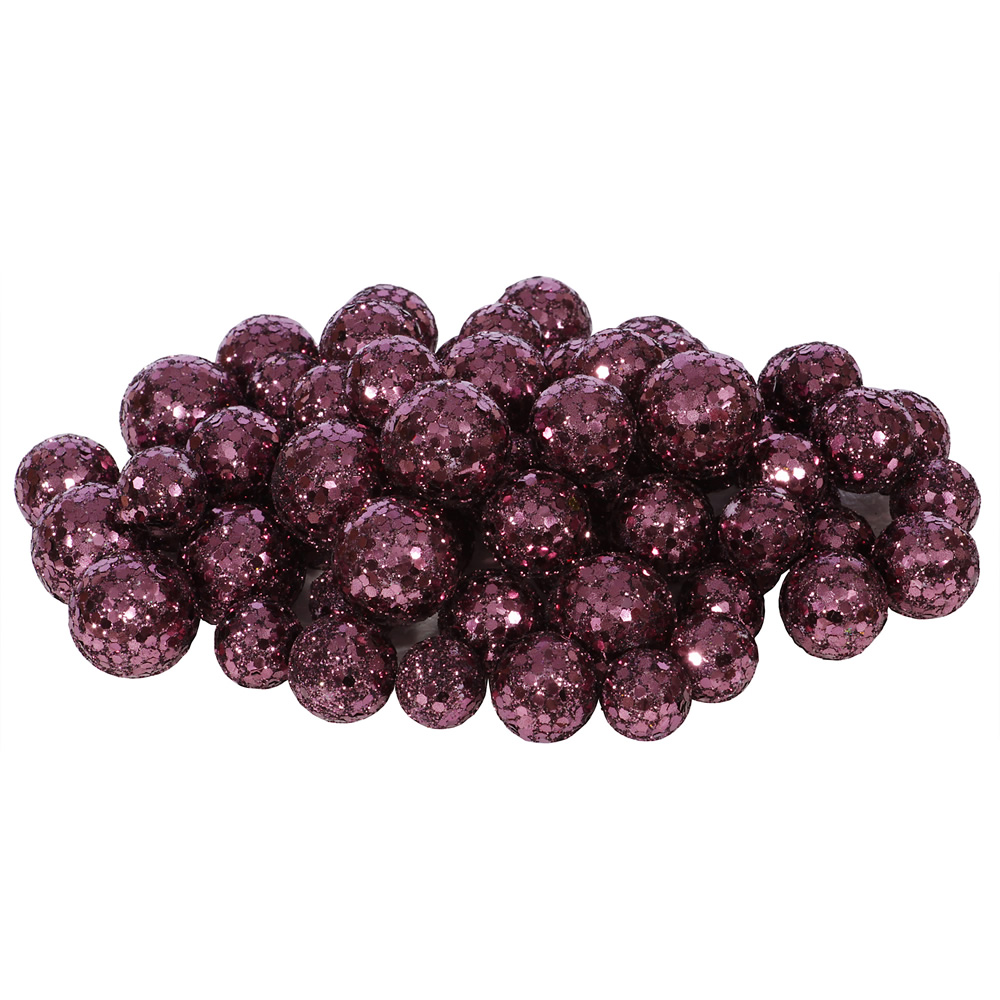 Dark Mauve Glitter Sequin Styrofoam Ball Assorted Sizes Pack of 72