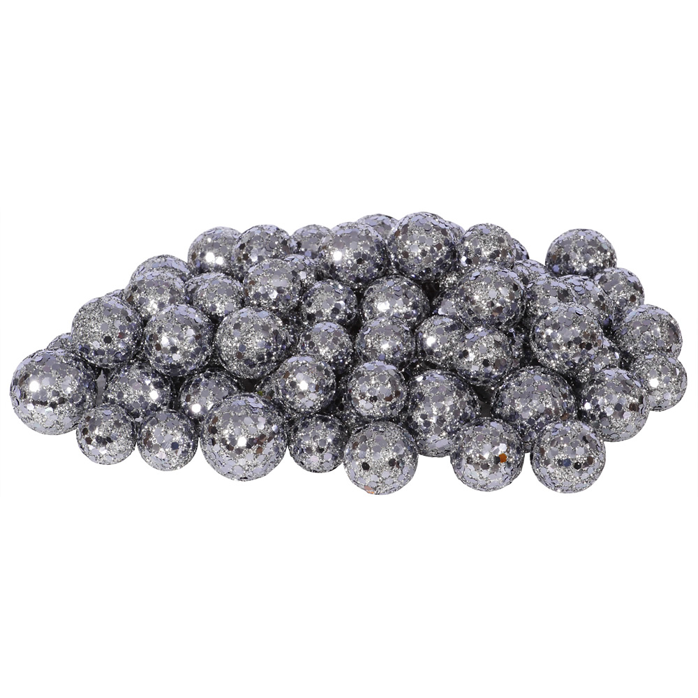 Pewter Silver Glitter Sequin Styrofoam Ball Assorted Sizes Pack of 72