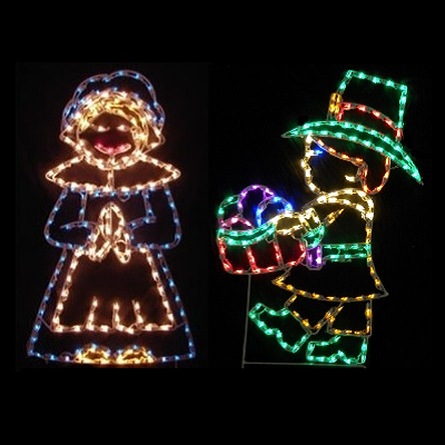 Harvest Pilgrim Kids LED Lighted Outdoor Thanksgiving Decoration