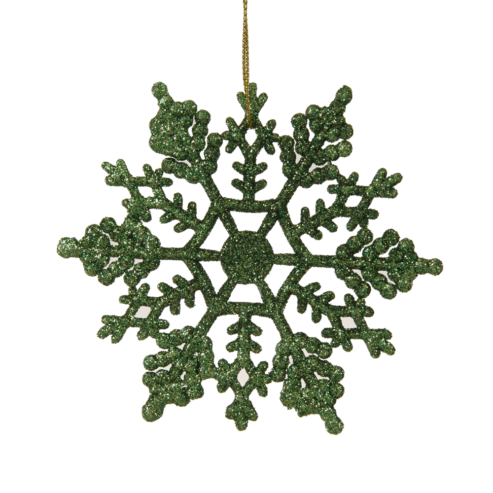 4 Inch Green Glitter Snowflake Christmas Ornament Set of 24