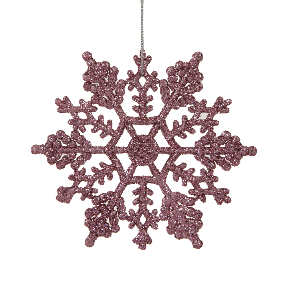 4 Inch Pink Glitter Snowflake Christmas Ornament 2 per Set4