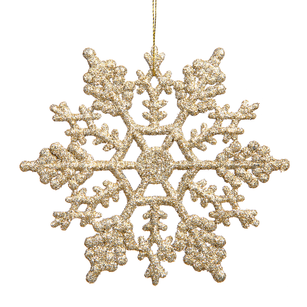 Engagement Ring In Christmas Ornament Part - 49: 4 Inch Champagne Glitter Snowflake Christmas Ornament 2 Per Set4
