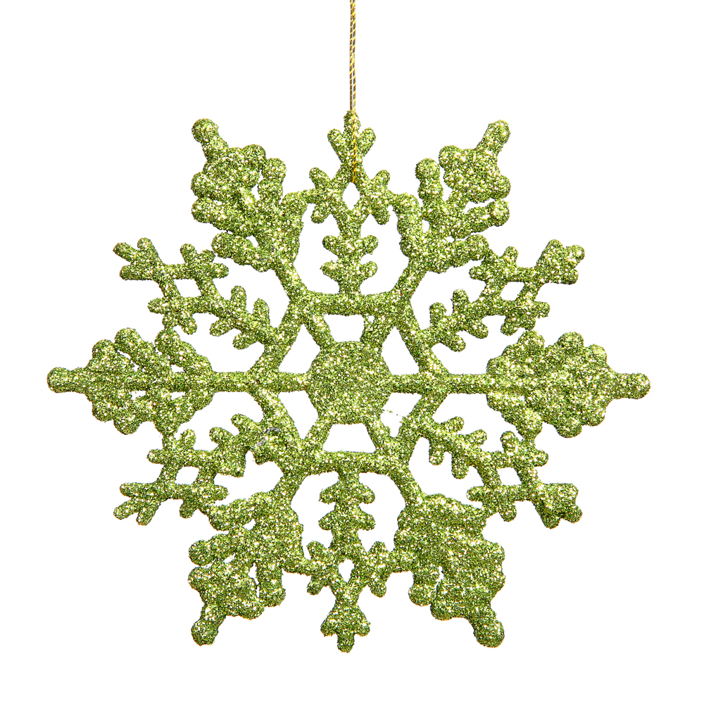 4 Inch Lime Glitter Snowflake Christmas Ornament 2 per Set4