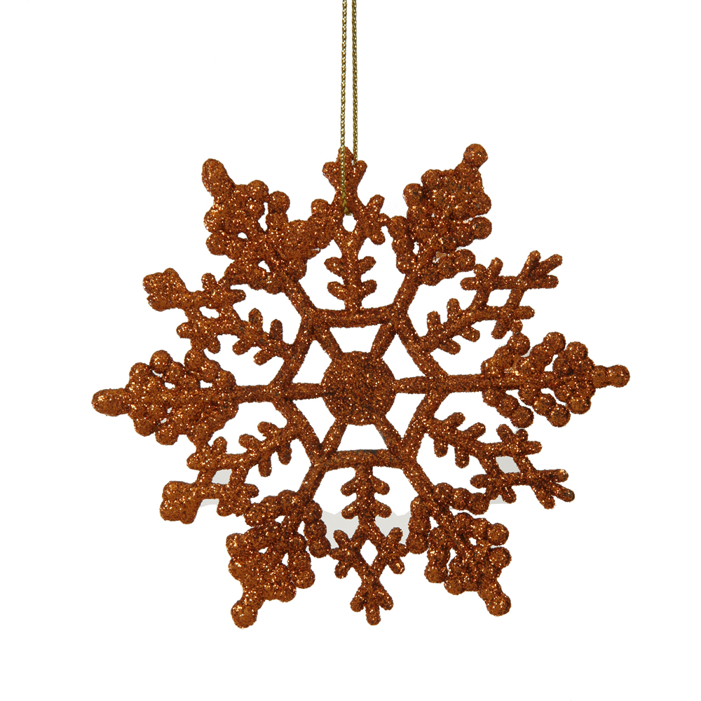 4 Inch Burnish Orange Glitter Snowflake Christmas Ornament 2 per Set4