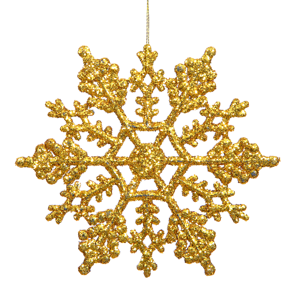 4 Inch Antique Gold Glitter Snowflake Christmas Ornament 2 per Set4