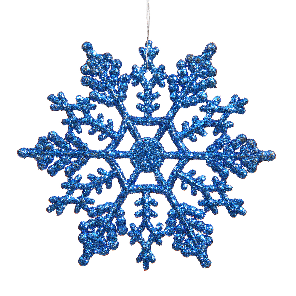 6.25 Inch Blue Glitter Snowflake Christmas Ornament 12 per Set