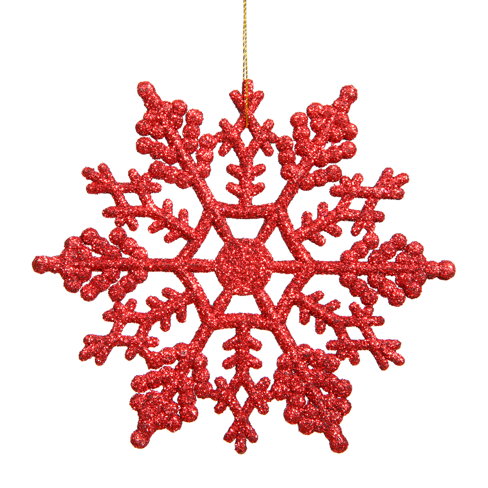 6.25 Inch Red Glitter Snowflake Christmas Ornament 12 per Set