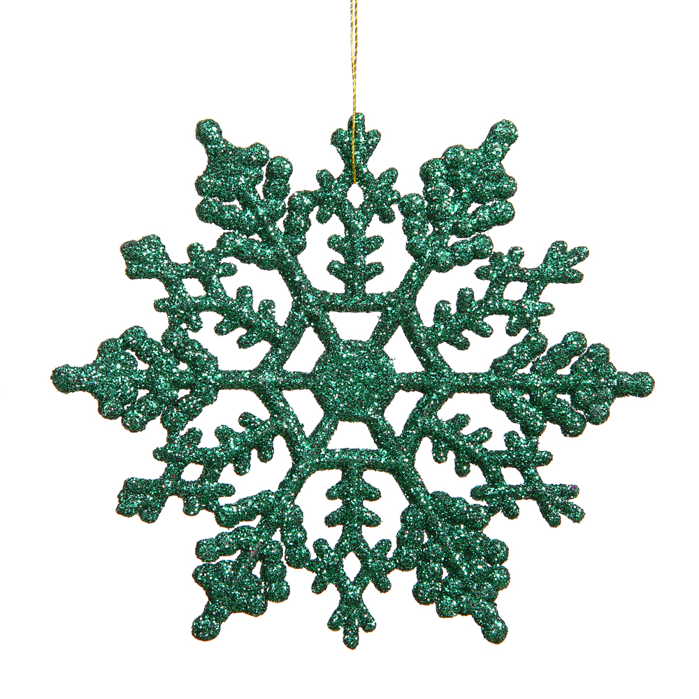 6.25 Inch Green Glitter Snowflake Christmas Ornament 12 per Set