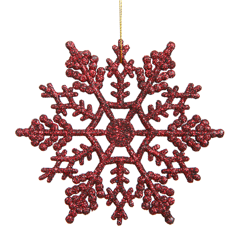 6.25 Inch Burgundy Glitter Snowflake Christmas Ornament 12 per Set