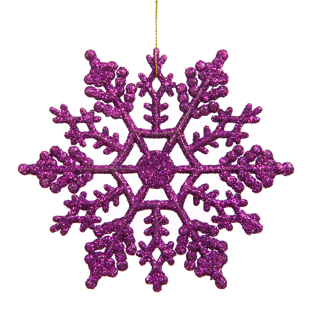 6.25 Inch Purple Glitter Snowflake Christmas Ornament 12 per Set