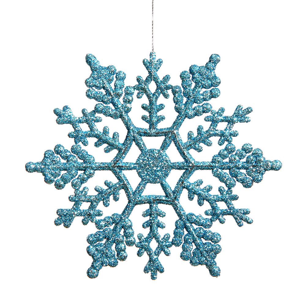 6.25 Inch Turquoise Glitter Snowflake Christmas Ornament 12 per Set