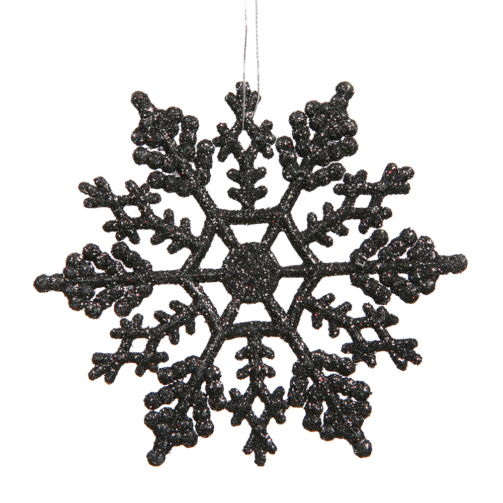 6.25 Inch Black Glitter Snowflake Christmas Ornament 12 per Set