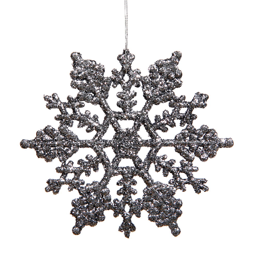 6.25 Inch Pewter Glitter Snowflake Christmas Ornament 12 per Set