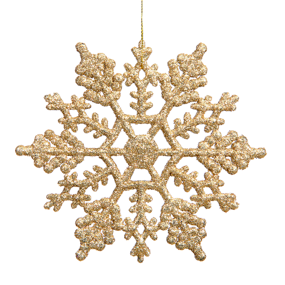 6.25 Inch Antique Gold Glitter Snowflake Christmas Ornament 12 per Set
