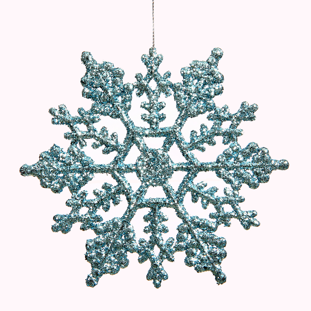 6.25 Inch Baby Blue Glitter Snowflake Christmas Ornament 12 per Set