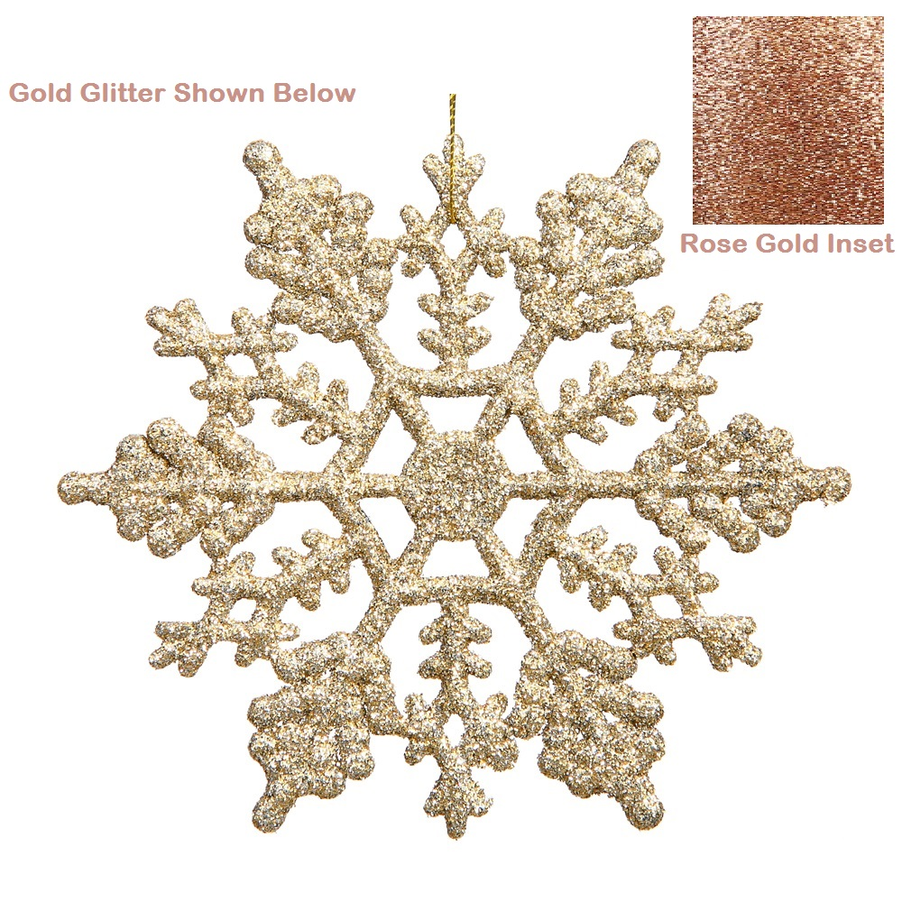 6.25 Inch Rose Gold Glitter Snowflake Christmas Ornament 12 per Set
