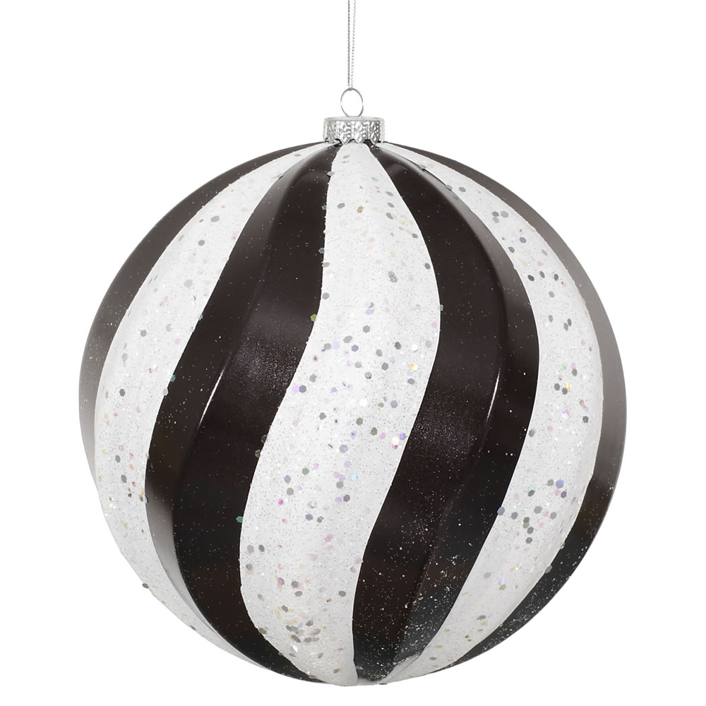 8 Inch Black and White Candy with Glitter Swirl Round Christmas Ball Ornament