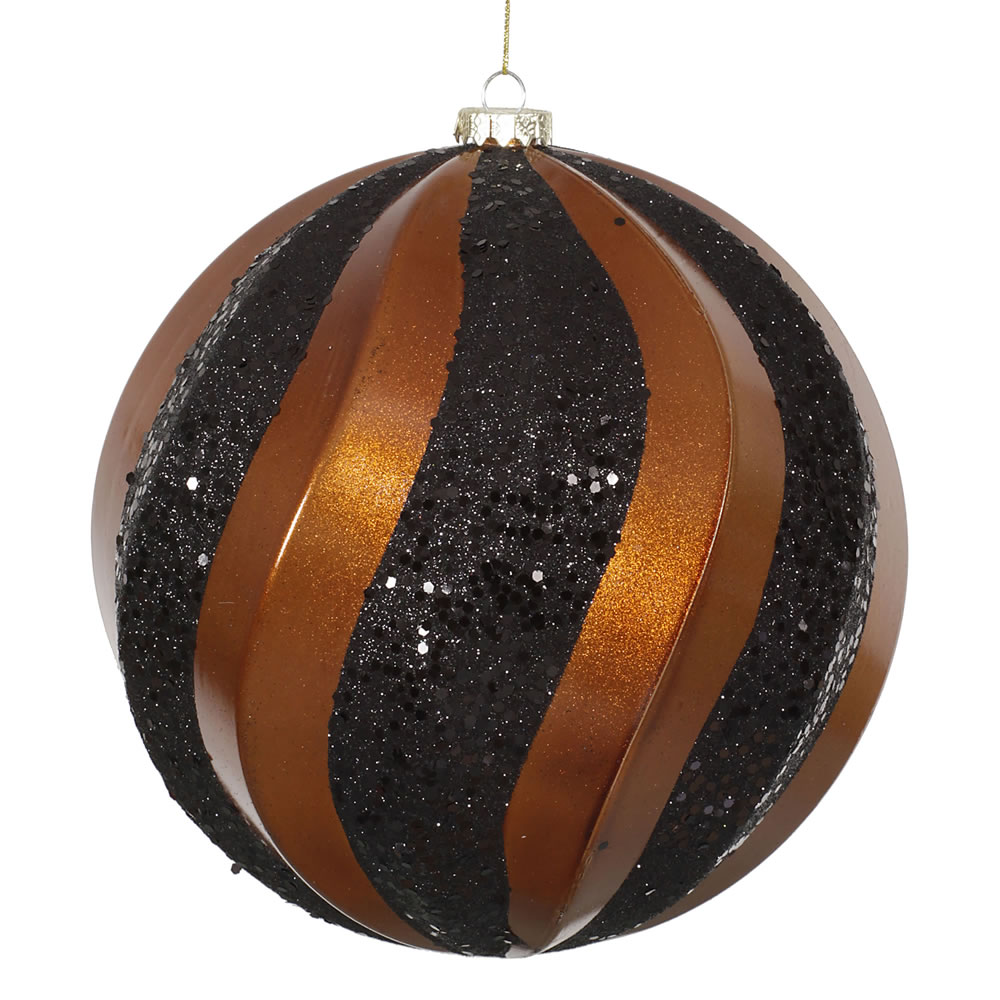 8 Inch Copper and Black Candy with Glitter Swirl Round Christmas Ball Ornament