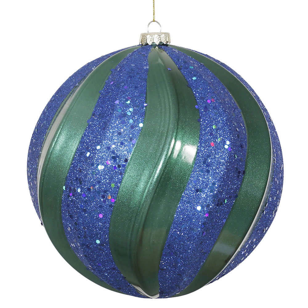 8 Inch Teal and Sea Blue Candy with Glitter Swirl Round Christmas Ball Ornament
