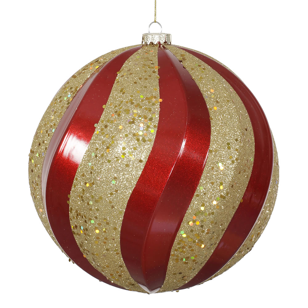 8 Inch Red Candy Gold Glitter Swirl Round Christmas Ball Ornament