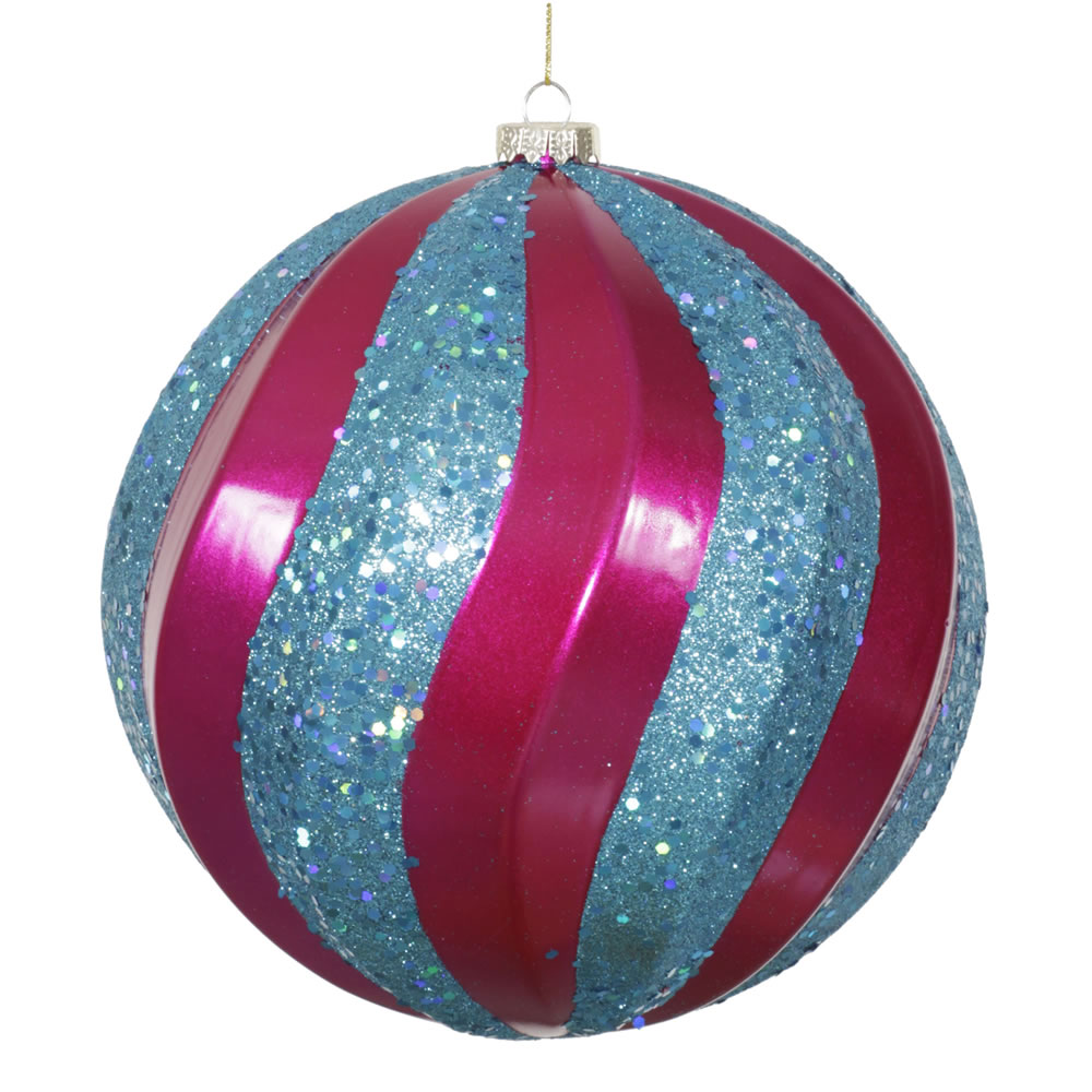 8 Inch Cerise Pink and Teal Candy with Glitter Swirl Round Christmas Ball Ornament