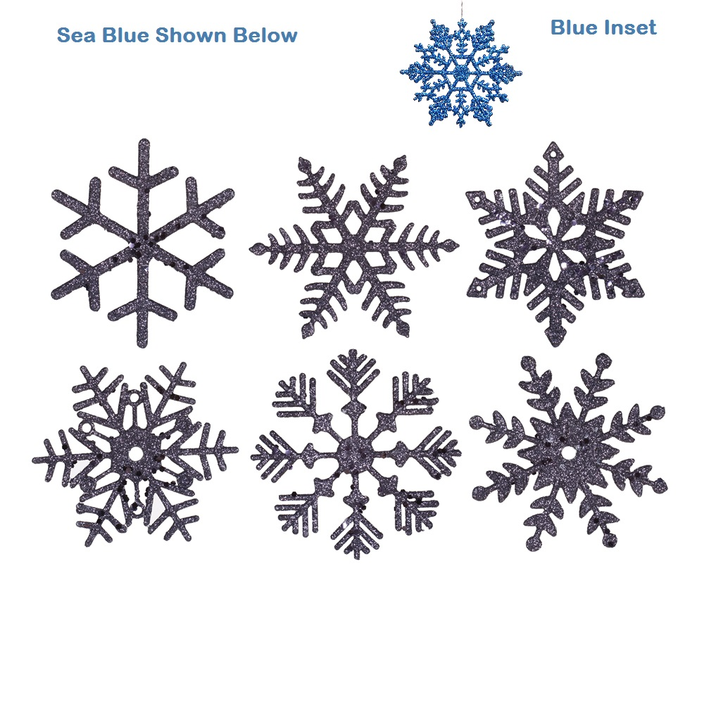 5 Inch Blue Glitter Snowflake Christmas Ornament 6 per Set