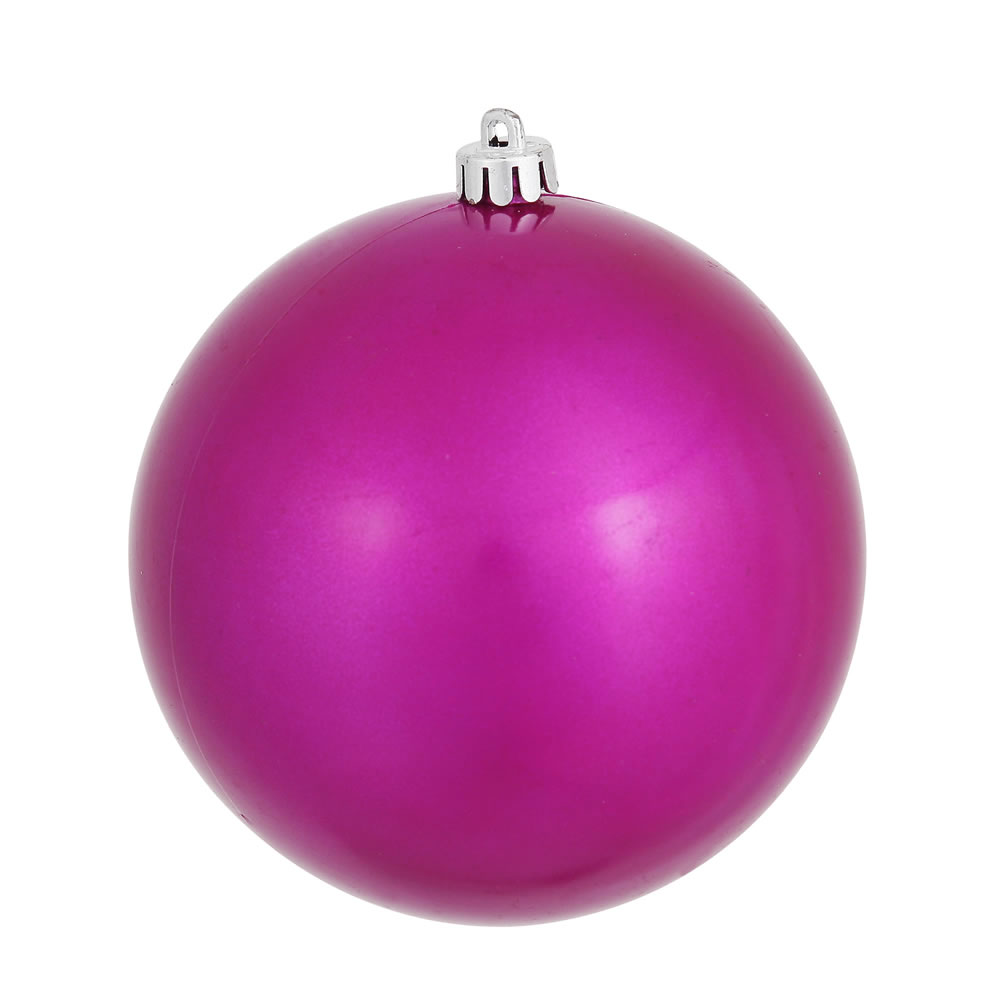 8 Inch Magenta Candy Christmas Ball Ornament Shatterproof