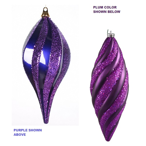 8 Inch Plum Candy Glitter Swirl Drop Ornament