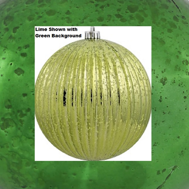 4 Inch Green Mercury Pumpkin Christmas Ball Ornament Shatterproof 6 per Set