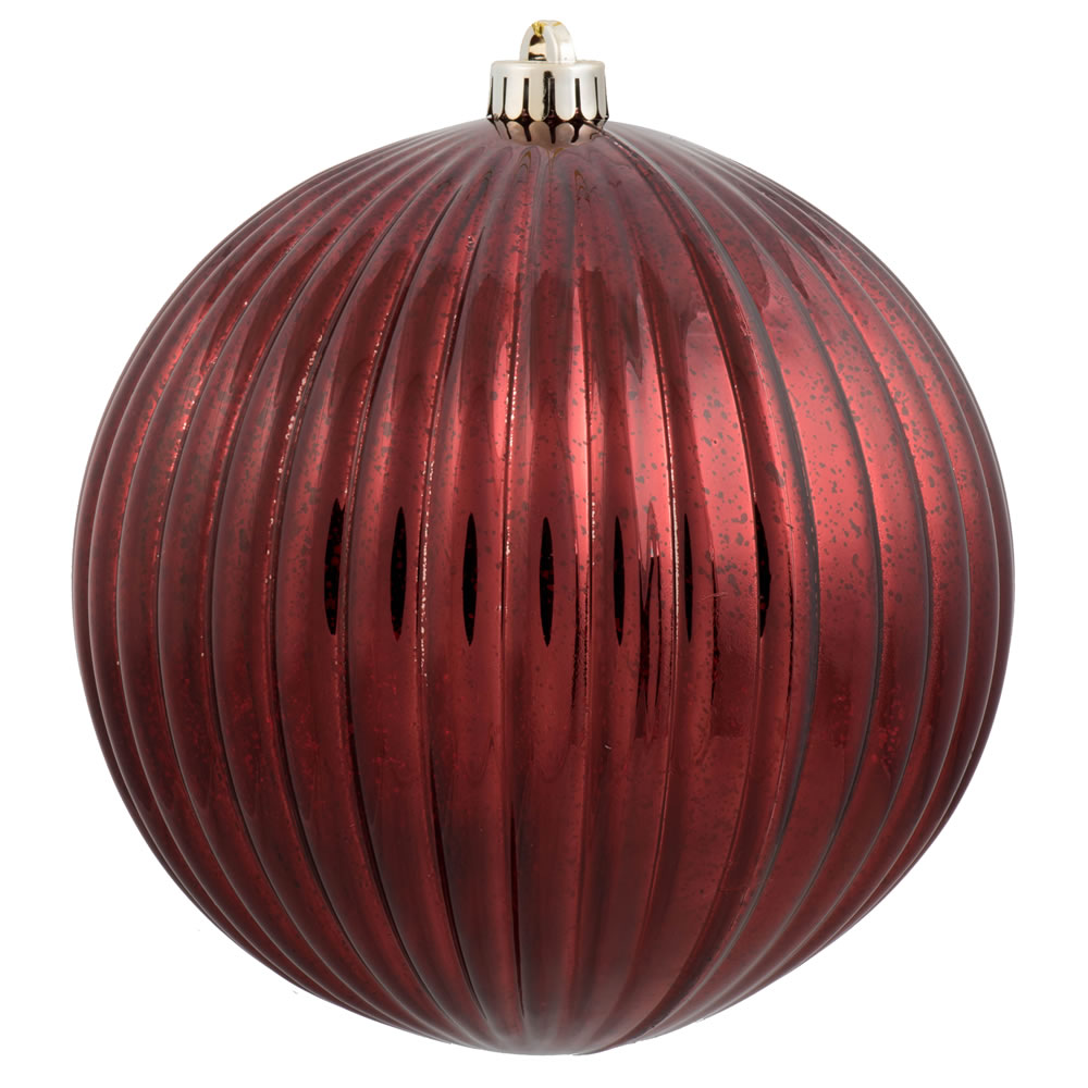4 Inch Burgundy Mercury Pumpkin Christmas Ball Ornament Shatterproof 6 per Set