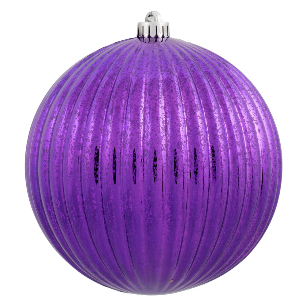 4 Inch Purple Mercury Pumpkin Christmas Ball Ornament Shatterproof 6 per Set