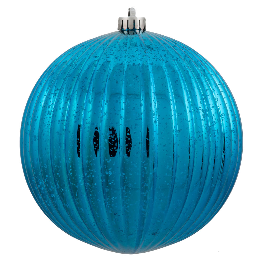 4 Inch Turquoise Mercury Pumpkin Christmas Ball Ornament Shatterproof 6 per Set