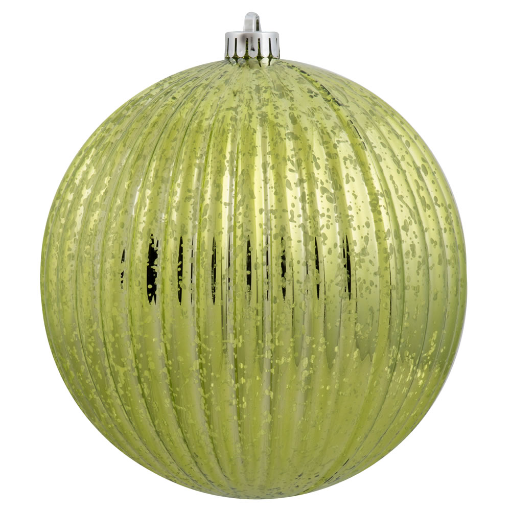 4 Inch Lime Green Mercury Pumpkin Christmas Ball Ornament Shatterproof 6 per Set