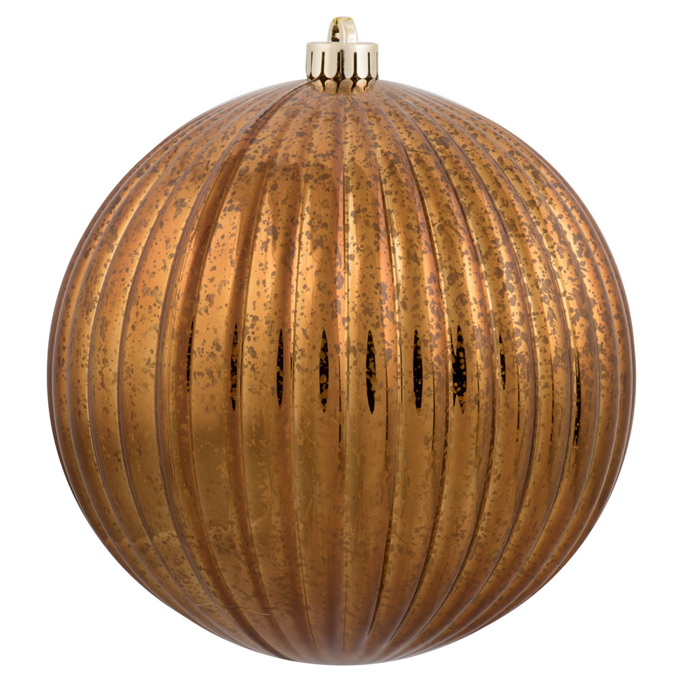 4 Inch Copper Mercury Pumpkin Christmas Ball Ornament Shatterproof 6 per Set