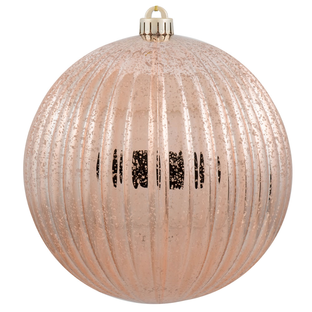4 Inch Rose Gold Mercury Pumpkin Christmas Ball Ornament Shatterproof 6 per Set
