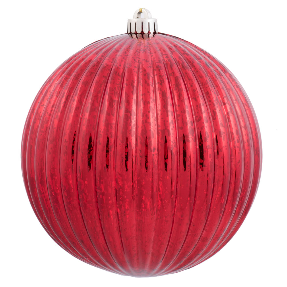 6 Inch Red Mercury Pumpkin Christmas Ball Ornament Shatterproof Set of 4