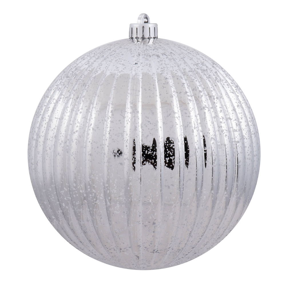 6 Inch Silver Mercury Pumpkin Christmas Ball Ornament Shatterproof Set of 4