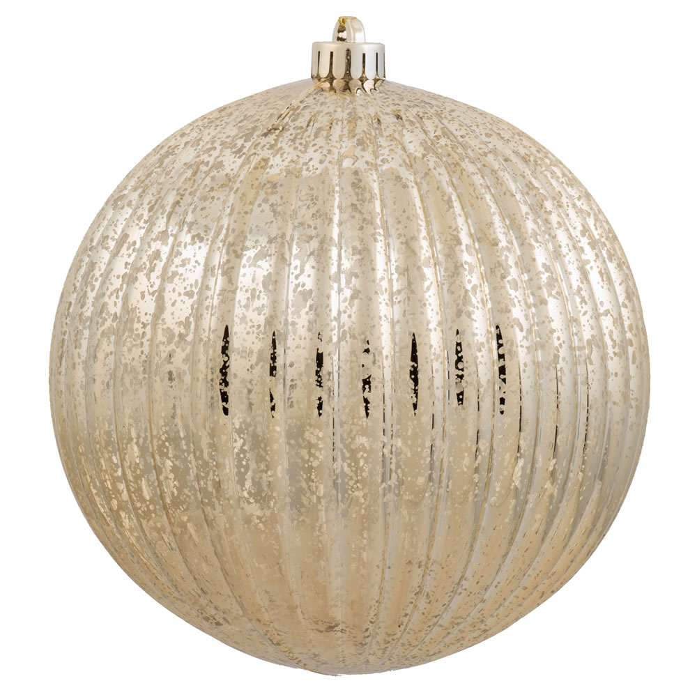6 Inch Gold Mercury Pumpkin Christmas Ball Ornament Shatterproof Set of 4