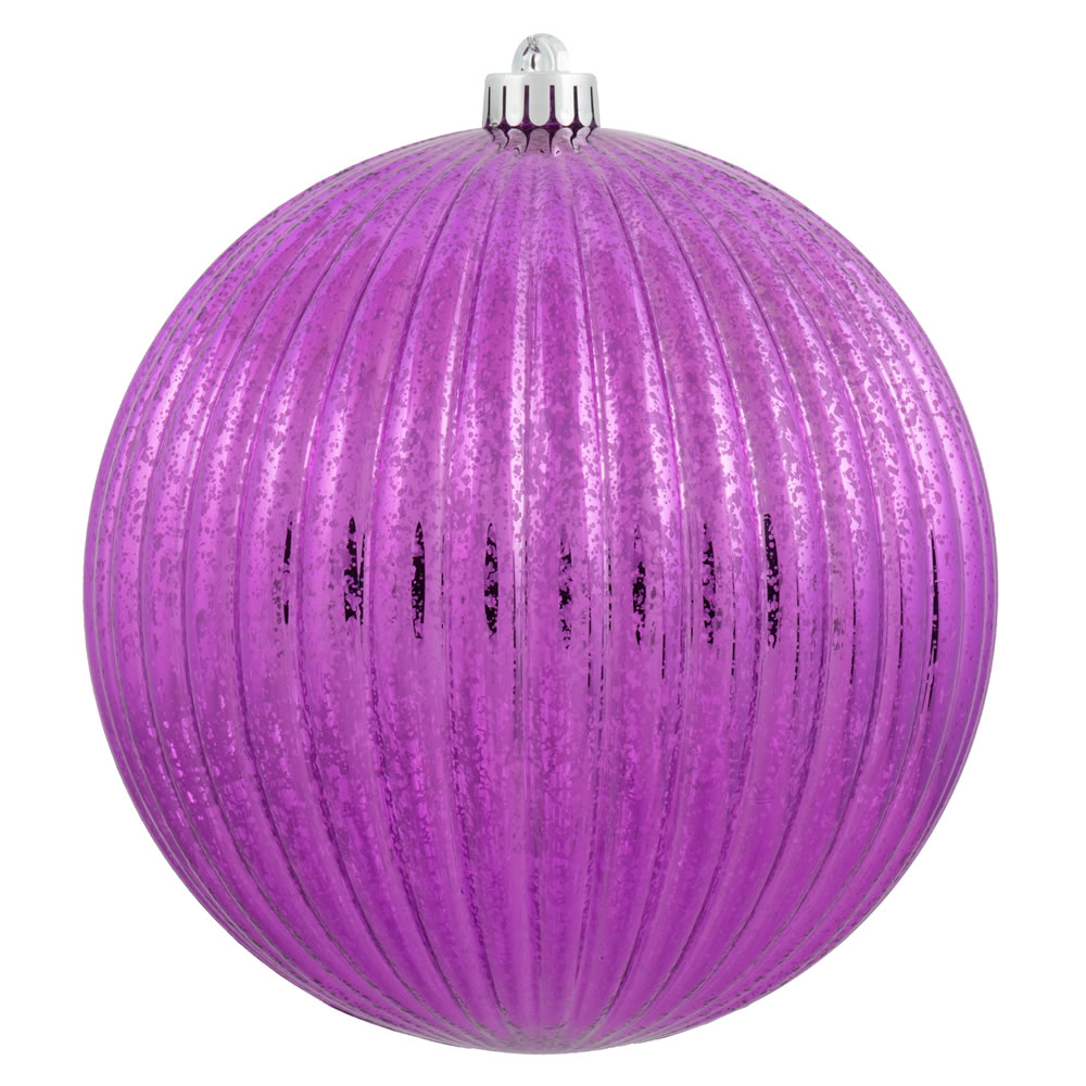 6 Inch Cerise Pink Mercury Pumpkin Christmas Ball Ornament Shatterproof Set of 4