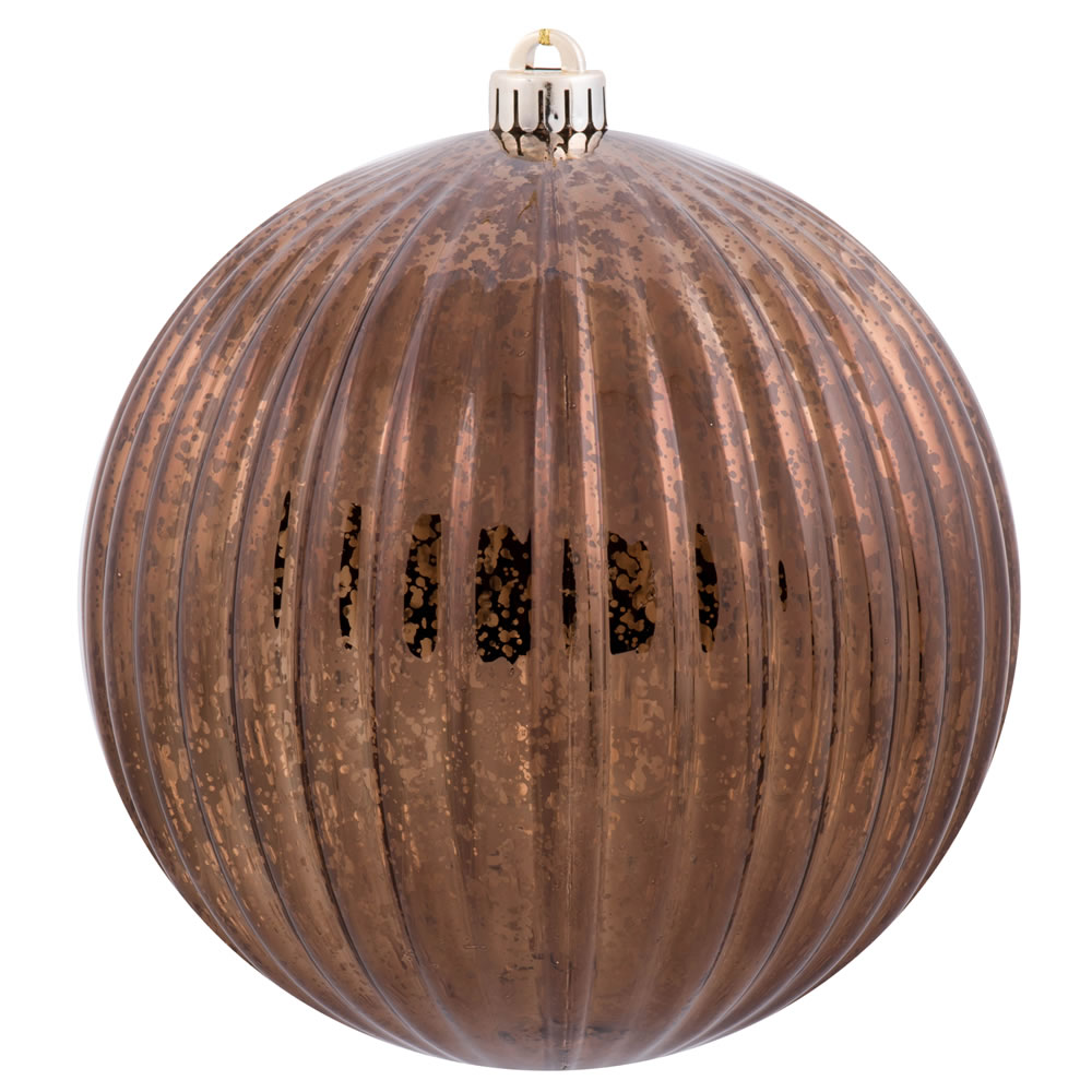 6 Inch Chocolate Brown Mercury Pumpkin Christmas Ball Ornament Shatterproof Set of 4