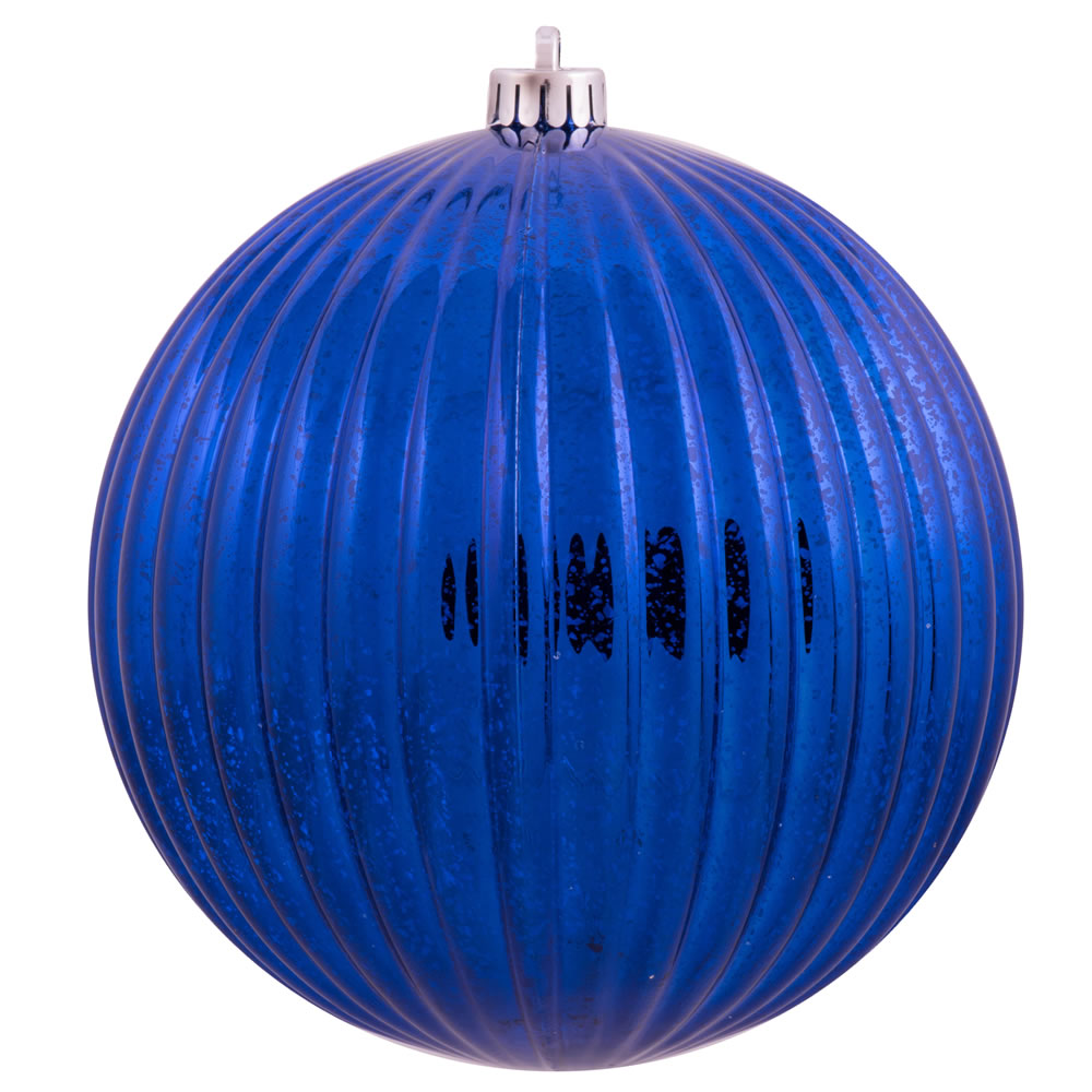 6 Inch Sea Blue Mercury Pumpkin Christmas Ball Ornament Shatterproof Set of 4