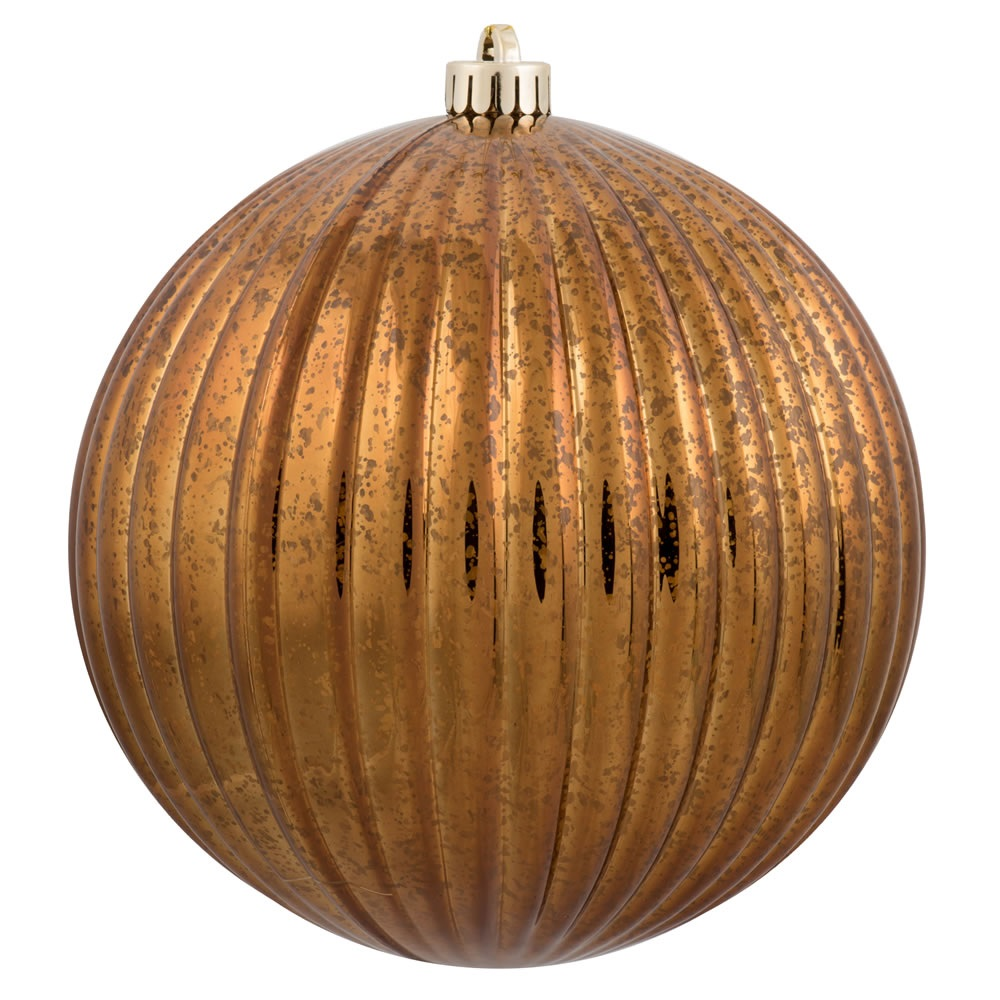 6 Inch Copper Mercury Pumpkin Christmas Ball Ornament Shatterproof Set of 4