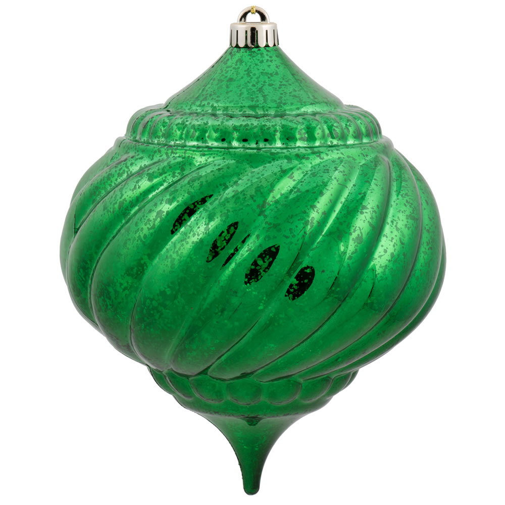 8 Inch Green Shiny Mercury Christmas Onion Spiral Ornament Shatterproof
